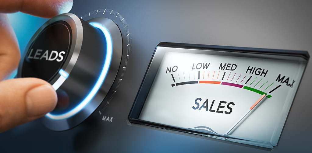 Dial, representing leads, being turned up to represent increased sales