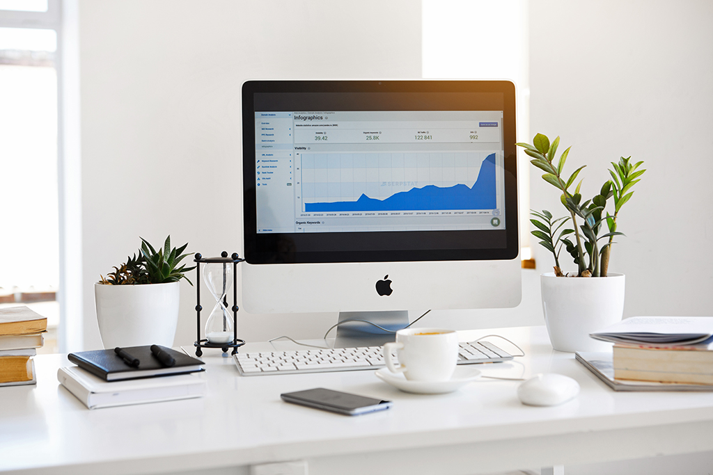 Mac computer monitor displaying online website growth.