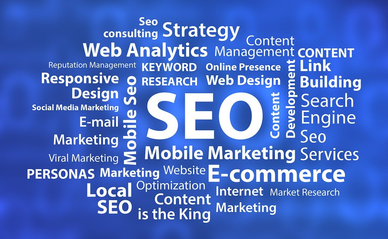 Search Engine Optimization graphic with SEO terms surrounding the letters SEO.