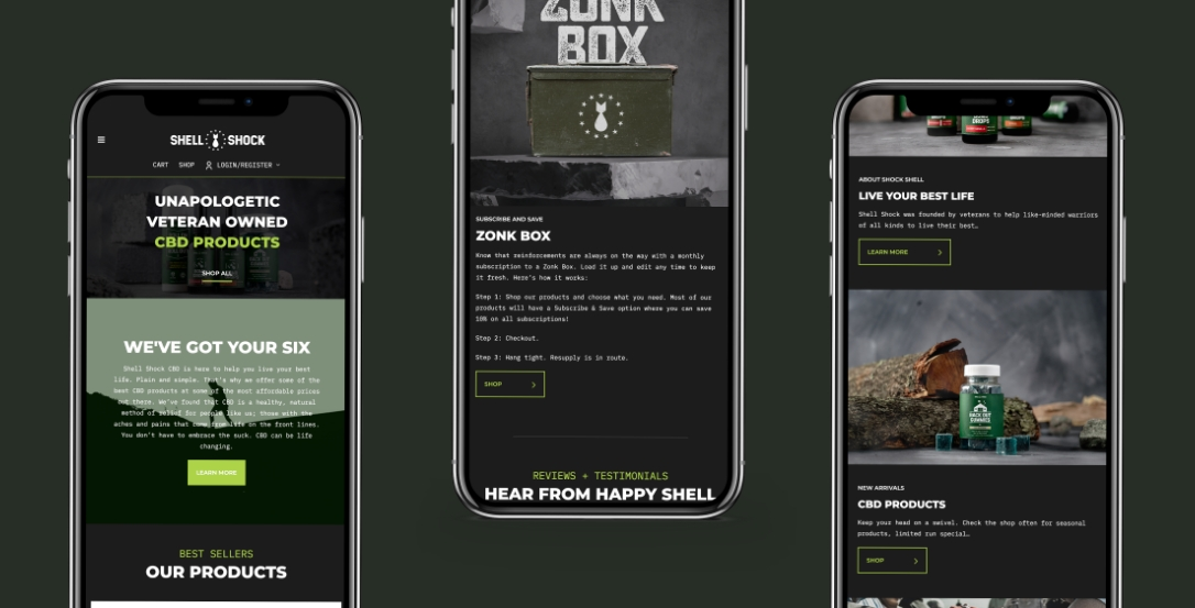 Shell Shock CBD mobile mock ups.