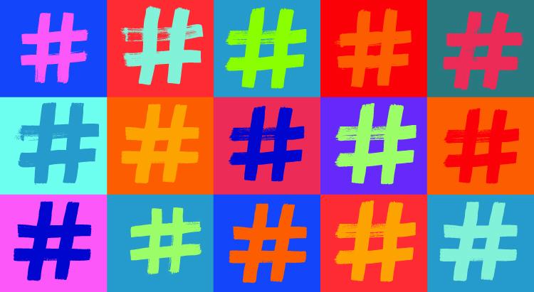Multi-colored # against multi-colored background.