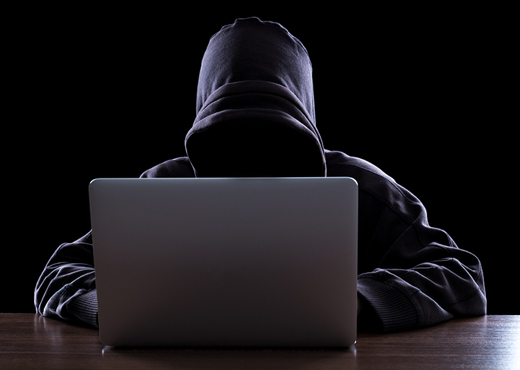 Man in black sweatshirt performing and online scam on a computer