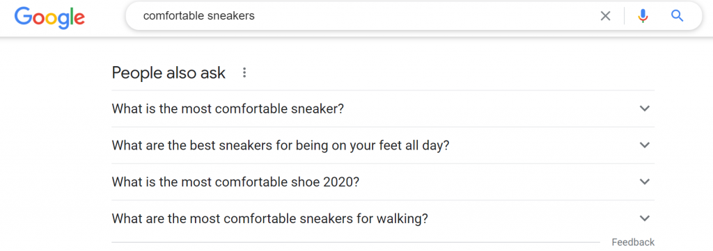 Google Search for comfortable sneakers